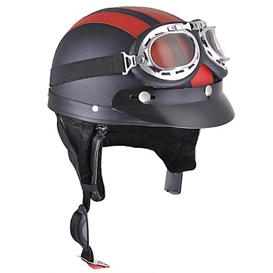 Motorcycle Helmet Open Face Visor Motocross Motor Helmets With Goggles Scarf Adjustable For Hare Retro Outdoor Cycling red