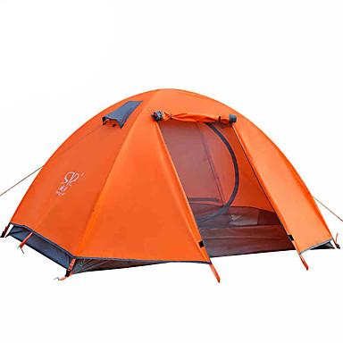 2 사람 텐트 더블 베이스 캠핑 텐트 접이식 텐트 수분 방지 방수 비 방지 통기성 2000-3000 mm 용 하이킹 캠핑 여행 야외 CM 원 룸 알루미늄 옥스포드