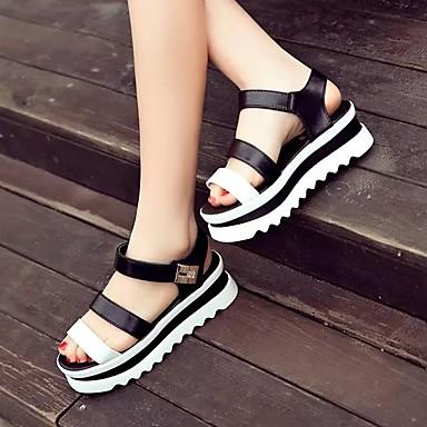 여성 샌들 슬링백 여름 PU 캐쥬얼 플랫 화이트 블랙 2.5cm- 4.5cm