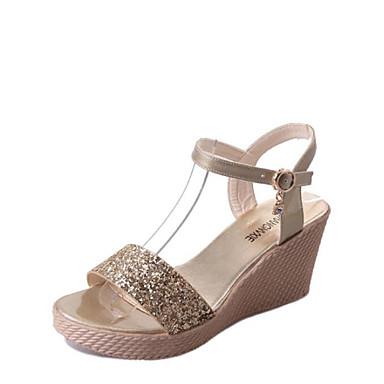 여성 샌들 워킹화 조명 신발 클럽 신발 PU 봄 여름 가을 캐쥬얼 스팽글 웻지 굽 골드 실버 5cm- 7cm