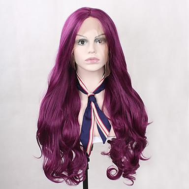 Damen Synthetische Lace Front Perücken Lang Wellen Rosa Blonde Lila Natürlicher Haaransatz Natürliche Perücke Kostümperücke