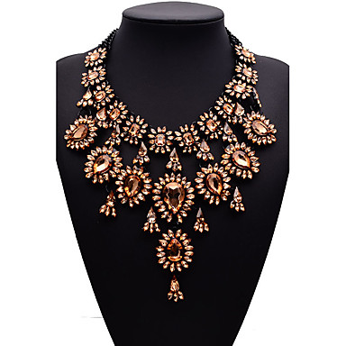 cheap Necklaces-Women's Chocolate Synthetic Diamond Statement Necklace Pear Cut Bib Ladies Fashion Euramerican Victorian Synthetic Gemstones Alloy Gold Light Blue Necklace Jewelry For Wedding Party Gift Masquerade