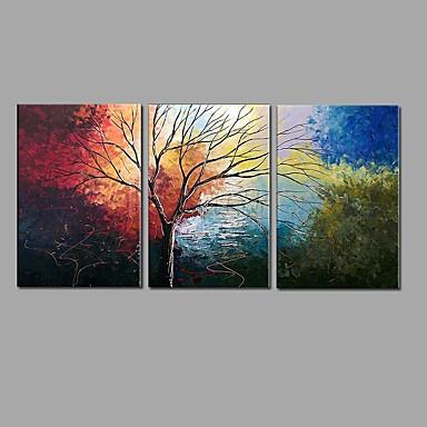 Pintados à mão Paisagem Horizontal, Estilo Europeu Pastoril Tela de pintura Pintura a Óleo Decoração para casa 3 Painéis
