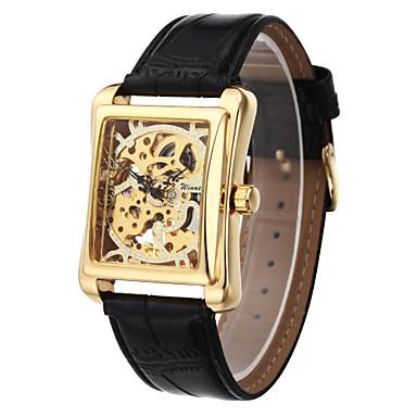 WINNER Pánské Náramkové hodinky mechanické hodinky Mechanické manuální natahování S dutým gravírováním PU Kapela Luxusní Černá