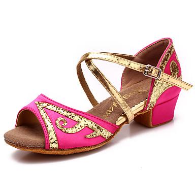 a8eb52d7928 Παπούτσια χορού λάτιν Σατέν / Δερματίνη Πέδιλα Αγκράφα Χαμηλό τακούνι Μη Εξατομικευμένο  Παπούτσια Χορού Φούξια / Κόκκινο / Μπλε / Δέρμα
