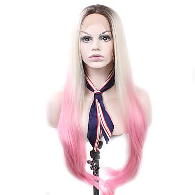 Syntetické čipky předních paruky Volný Přírodní vlasová linie Ombre vlasy Růžová Dámské Se síťovanou přední částí Karnevalová paruka