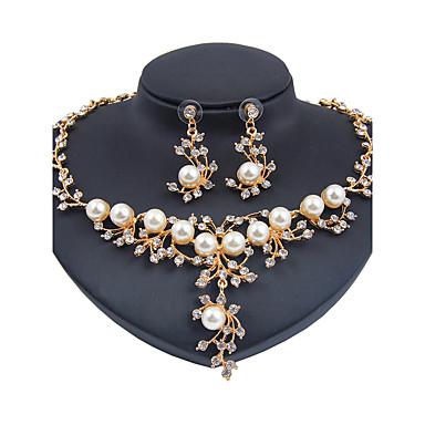 Mulheres Imitação de Pérola Conjunto de jóias 1 Colar 1 Par de Brincos - Clássico Euramerican Fashion Flor Dourado Conjunto de Jóias Para