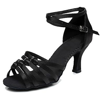 baratos Sapatos de Salsa-Mulheres Sapatos de Dança Seda Sapatos de Dança Latina / Sapatos de Salsa Salto Salto Personalizado Personalizável Preto / Nú / Azul / Interior / EU37