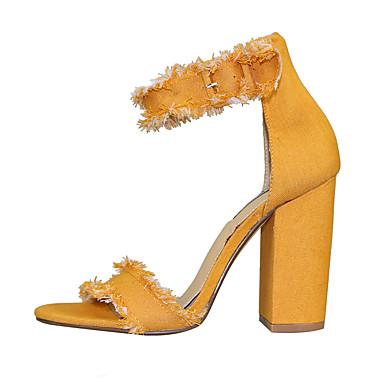 93804bf7f4de7 ... Jaune 05821132 Chaussures Bottier de amp  Talon Rouge de jean Femme  Toile Bleu Evénement Eté ...