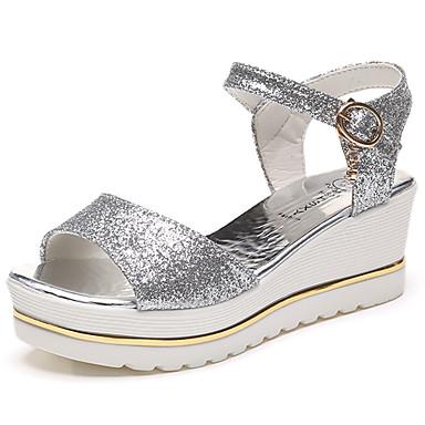 Mulheres Sapatos Couro Ecológico Verão Conforto Sandálias Caminhada Salto Plataforma Dedo Aberto Presilha para Ao ar livre Dourado Preto