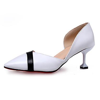 Dámské Boty PU Léto Pohodlné Sandály Chůze Nízký podpatek Palec do špičky pro Venkovní Bílá Černá