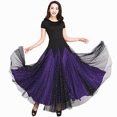ボールルームダンス ドレス 女性用 性能 スパンデックス チュール スプライシング 半袖 ドレス
