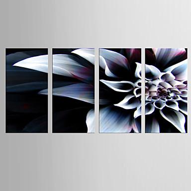 Estampado Giclée Floral/Botânico Clássico Modern, 4 Painéis Tela de pintura Vertical Estampado Decoração de Parede Decoração para casa