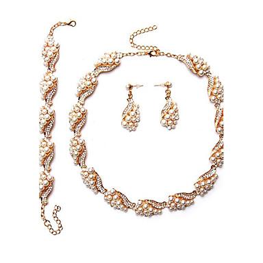 Mulheres Imitação de Pérola Pérola Conjunto de jóias 1 Colar 1 Par de Brincos 1 Bracelete - Euramerican Forma Geométrica Dourado Sets