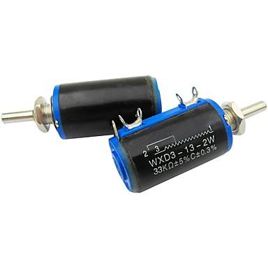 Wxd3-13 33k ohm 2w 4 pinos rotativos potenciômetro de bobina de fio de 10 voltas 2 pedaços