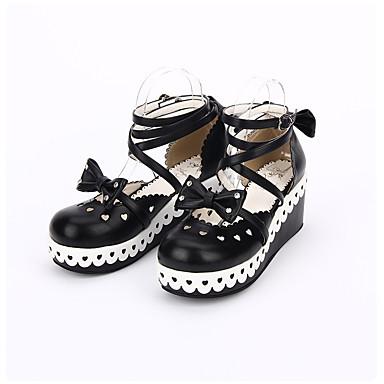 Schuhe Niedlich Klassische/Traditionelle Lolita Handgemacht Prinzessin Lolita Elegant Plattform Punkt Lolita Genähte Spitzen 6 CM Schwarz