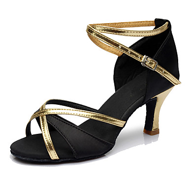 Women's Latin Shoes Synthetic Heel Customized Heel Customizable Dance Shoes Red / Blue / Dark Brown / Indoor