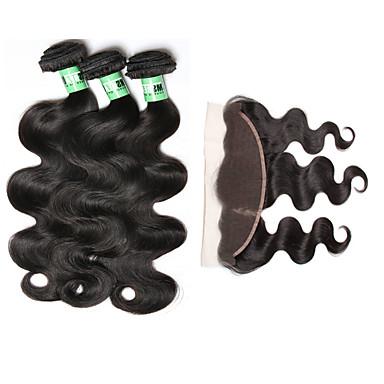 Peruánské vlasy Vlnité Lidské vlasy Vazby 4 kusy 0.35