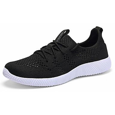Homens sapatos Couro Ecológico Primavera Outono Conforto Tênis Caminhada Cadarço para Atlético Preto Azul