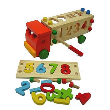 Bausteine Steckpuzzles Mathe-Spielzeug Spielzeuge LKW Holz Kinder Stücke