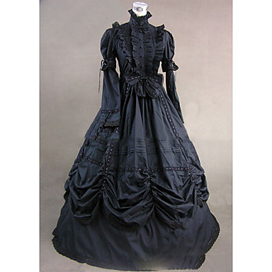 Gothic Lolita Dress Victorian Lolita Party Prom Women's Dress Cosplay Black Ball Gown Bell Sleeve Long Sleeve Floor Length Long Length Plus Size Customized Costumes