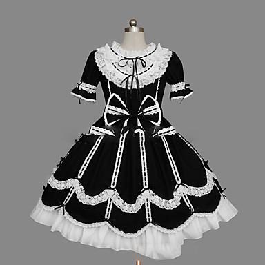 Gothic Lolita Dress Women's / Girls' Dress Cosplay Black Cap Sleeve Short Sleeve Short / Mini