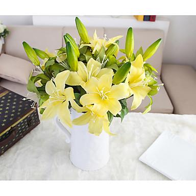 5 Větev Hedvábí Polyester Lilie Květina na stůl Umělé květiny