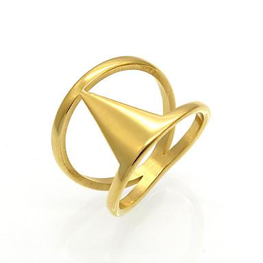 Pánské Dámské Prsten Vyzvánění Band Ring Zlatá Stříbrná Titanová ocel 18K zlato Kulatý Geometric Shape Taper Shape Přizpůsobeno Geometrik