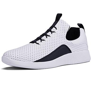 للرجال أحذية قماش ربيع / خريف مريح أحذية رياضية المشي أبيض / أسود