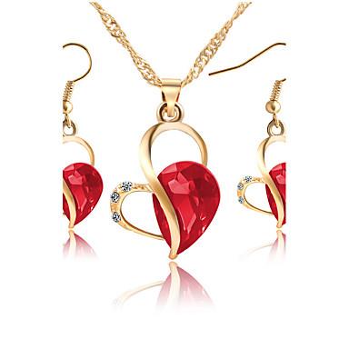 Mulheres Zircônia cúbica Zircônia Cubica Strass Coração Conjunto de jóias 1 Colar 1 Par de Brincos - Clássico Euramerican Fashion