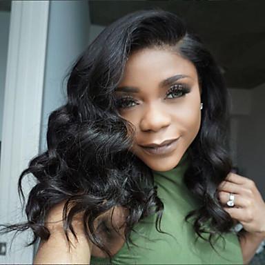 Remy vlasy Se síťovanou přední částí Paruka Přírodní vlny 130% Hustota 100% ručně vázaná Afroamerická paruka Přírodní vlasová linie
