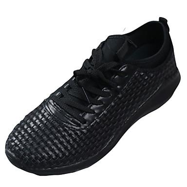 Homens sapatos Tule Primavera Conforto Tênis Corrida Cadarço para Ao ar livre Branco Preto