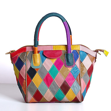Women's Bags Cowhide Tote Zipper Rainbow