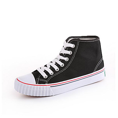 Damen Sneaker Komfort Frühling Leinwand Normal Weiß Schwarz Grün Flach