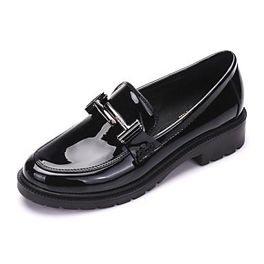 Naiset Kengät Tekonahka Kevät Syksy muodollinen Kengät Korkokengät Paksu korko Pointed Toe varten Kausaliteetti Musta