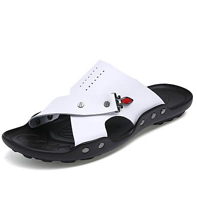 Homens sapatos Pele Napa Verão Outono Chinelos e flip-flops Caminhada Combinação para Branco Marron Azul
