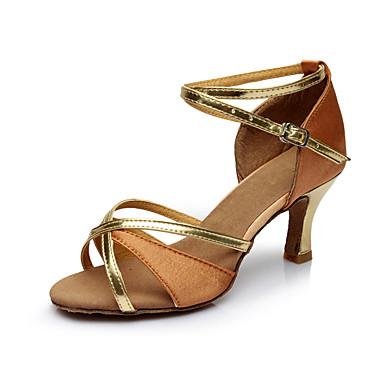 Dámské Boty na latinskoamerické tance Satén Sandály Na zakázku Obyčejné Taneční boty Hnědá / Vevnitř / Kůže