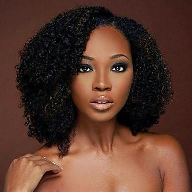 Přírodní vlasy Se síťkou Paruka Kinky Curly 130% Hustota 100% ručně vázaná Afroamerická paruka Přírodní vlasová linie Krátký Střední