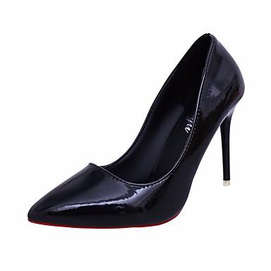 Naiset Sandaalit Comfort Kevät PU Kausaliteetti Musta Purppura Punainen 2-2,75in