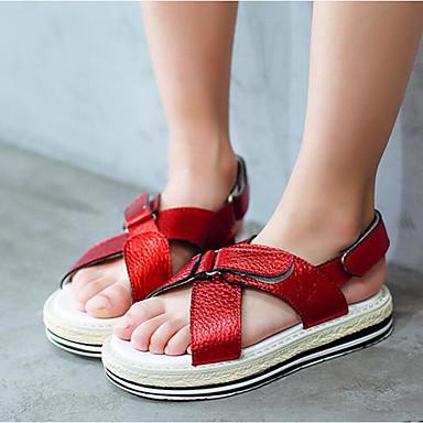 Tyttöjen kengät PU Kevät Syksy Ensikengät Sandaalit Tarranauhalla varten Kausaliteetti Punainen