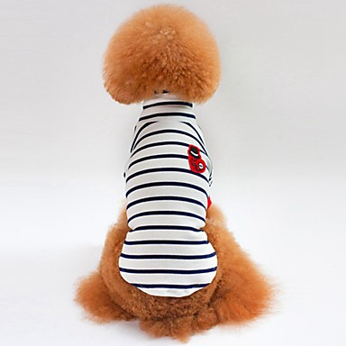 Cat Dog Shirt / T-Shirt Sweatshirt Dog Clothes Stripe White Blue Cotton Costume For Pets Men's Women's Casual/Daily
