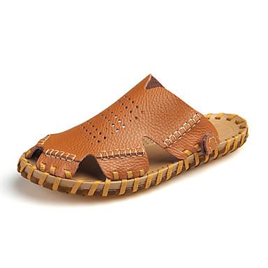 Pánské Obuv Kůže / Nappa Leather Léto / Podzim Pohodlné Sandály Bílá / Černá / Hnědá