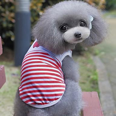 Gato Cachorro Camiseta Colete Roupas para Cães Riscas Vermelho Azul Algodão Ocasiões Especiais Para animais de estimação Verão Homens