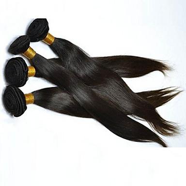 cabelo de cor natural não processado tece extensões de cabelo liso 4pcs 4 peças de cabelo natural preto natural brasileiro tece #kgparty evening