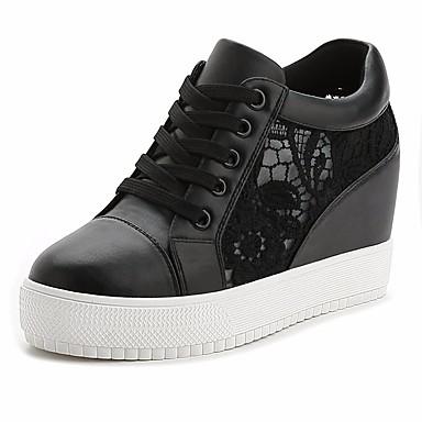 Damen Schuhe Leinwand Frühling Komfort Sneakers für Normal Weiß Schwarz