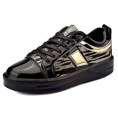Homens sapatos Borracha Primavera/Outono Conforto Tênis Cadarço para Ao ar livre Prata Preto e Dourado Azul