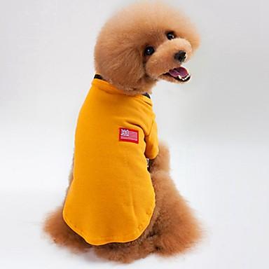 Gato Cachorro Camiseta Moletom Roupas para Cães Sólido Cinzento Amarelo Verde Algodão Ocasiões Especiais Para animais de estimação Verão