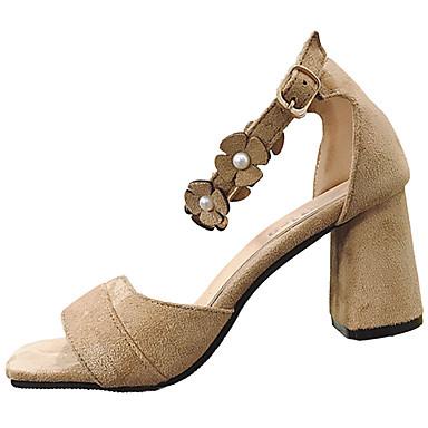 Naiset Sandaalit Comfort Kesä Kumi Kävely Soljilla Block Heel Musta Khaki Alle 1in