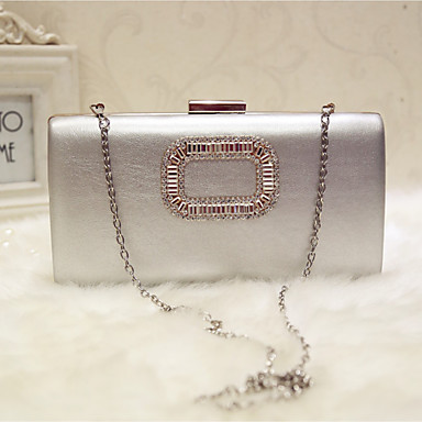 Women's Bags Faux Leather Evening Bag Solid Colored Silver