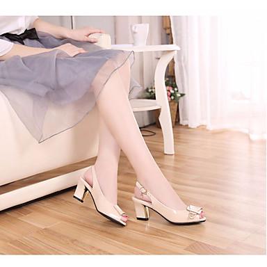 Damen Sandalen Komfort Frühling PU Normal Schwarz Mandelfarben 5 - 7 cm